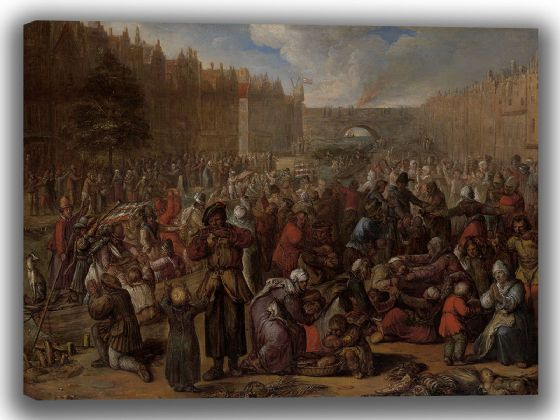 Veen, Otto van: Distribution of Herring and White Bread During the Siege of Leiden. Fine Art Canvas. Sizes: A4/A3/A2/A1 (4026)